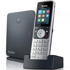 Base DECT W60B Combiné sans fil W53H, 8 comptes SIP, 8 appels simultanés et possibilité d'appairer 8 combinés sans fil.